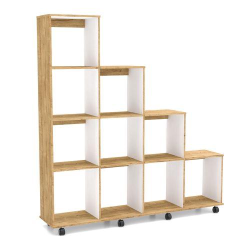 Biblioteca en madera 10 Nichos con Rodachinas